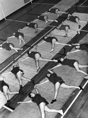 Women Doing Calisthenics to Music in Exercise Class in the Gymnasium of Riverside Church by Margaret Bourke-White