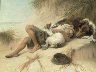 A Child Sleeping in the Sand Dunes with a Collie, 1905
