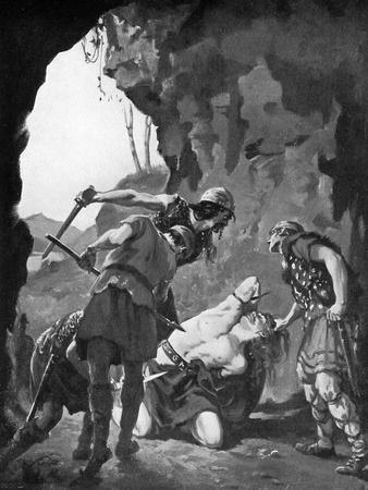 King Constantine I of Scotland Being Slain by the Danes in 877, C1920
