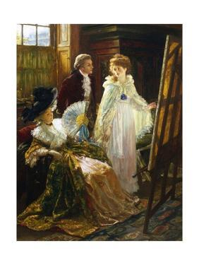 Miss Angel - Angelica Kauffmann Visits Mr. Reynolds' Studio by Margaret Isabel Dicksee