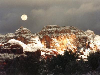 Moon Above Snow-Covered Boynton Canyon, Sedona, Arizona, USA by Margaret L. Jackson