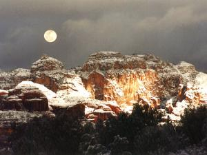 Moon Above Snow-Covered Boynton Canyon, Sedona, Arizona, USA by Margaret L. Jackson