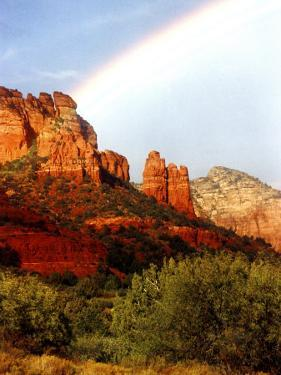 Partial Rainbow over Red Rocks with Bluish Sky, Sedona, Arizona, USA by Margaret L. Jackson
