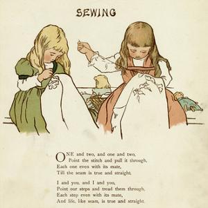 Two Girls Sewing by Margaret Wendell Huntington