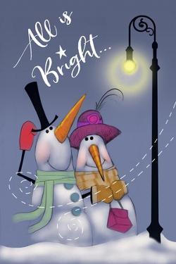Snow Couple In Streetlight by Margaret Wilson
