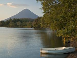 Boat on Lago de Nicaragua with Volcan Concepcion in Distance, Isla de Ometepe, Rivas, Nicaragua by Margie Politzer