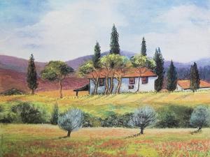 French farmland,  pastel by Margo Starkey