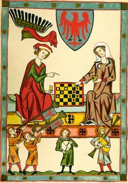 Margrave Otto IV of Brandenburg Playing Chess (From the Codex Maness), C1300