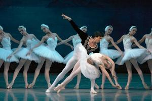 Maria Alexandrova, of the Bolshoi Ballet, as Odette in 'Swan Lake'