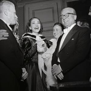 Maria Meneghini Callas with Giovanni Gronchi at the Inauguration of the Theatre Season at La…