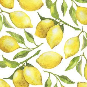 Fresh Lemons, Tree Branches, and Green Leaves by Maria Mirnaya