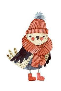 Little Cute Bullfinch with Winter Hat and Scarf.Watercolor Hand Drawn Kids Illustration. Christmas by Maria Sem
