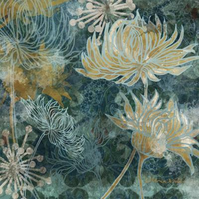 Navy Chrysanthemums I by Maria Woods