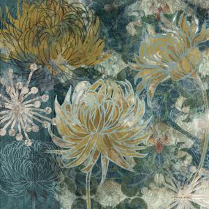 Navy Chrysanthemums II by Maria Woods
