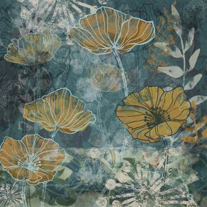 Navy Poppies II by Maria Woods