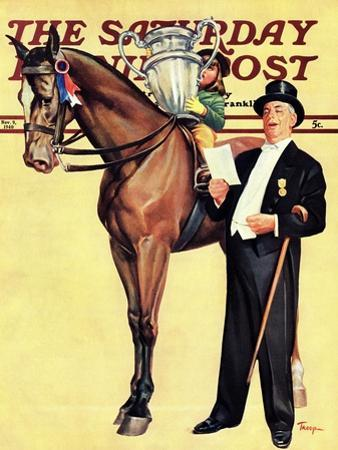 """Big Trophy, Little Girl,"" Saturday Evening Post Cover, November 9, 1940 by Mariam Troop"