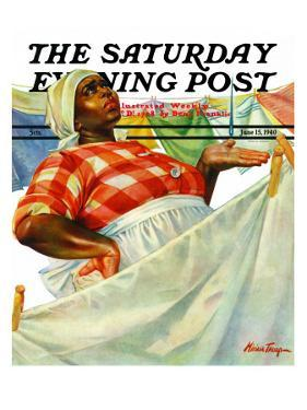 """Rain on Laundry Day,"" Saturday Evening Post Cover, June 15, 1940 by Mariam Troop"