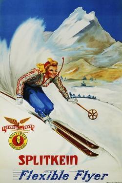 Splitkein Flexible Flyer Skis Advertisement Poster by Marian E. Williams