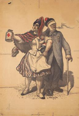 Marianne and Soldier Collect for the Red Cross WWI War Propaganda Art Print Poster