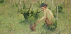 A Faun Feeding a Squirrel by Marianne Stokes