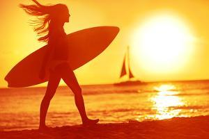 Surfing Surfer Woman Babe Beach Fun at Sunset. Girl Walking in Sunshine in Warm Evening Sun Holding by Maridav