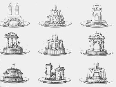 Designs For Food Decoration, Le Cuisinier Parisien by Antoine Careme, Plate 21, Published 1842