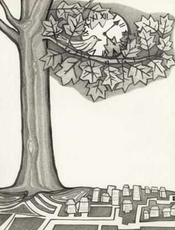 Black and White Drawing of Bird Looking at Clock on Tree Branch