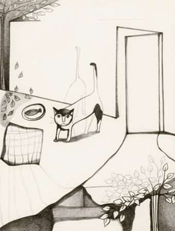 Black and White Drawing of Cat