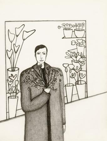 Black and White Drawing of Man Standing with Flowers in Hand