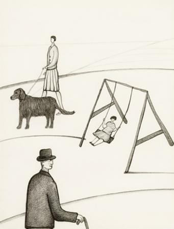 Black and White Drawing of People Taking Walk Outside