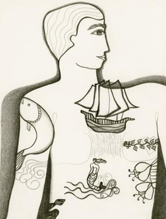 Black and White Drawing of Tattooed Man