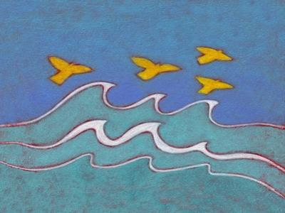 Illustration of Birds Flying above Sea