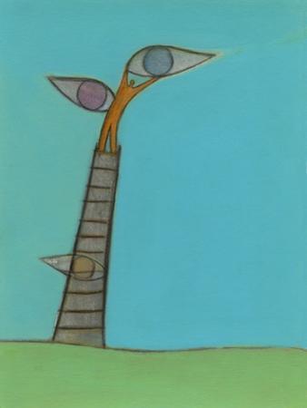 Illustration of Man Holding Eyes on Ladder Top