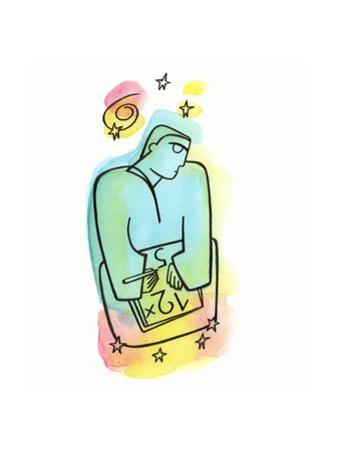 Illustration of Man Writing Numbers
