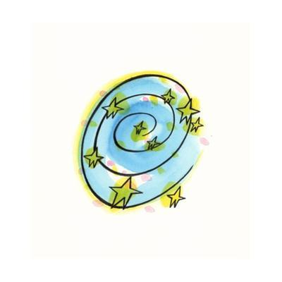 Spiral and Stars on Blue Circle on White Background