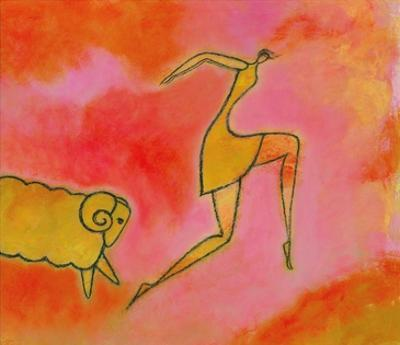 Woman Running from a Ram by Marie Bertrand