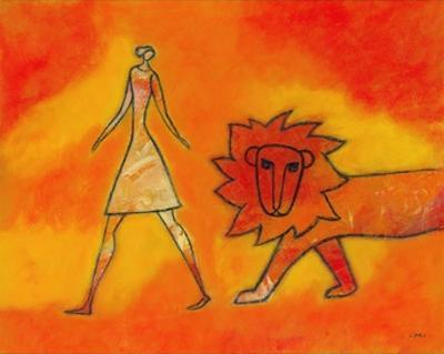 Woman Walking with a Lion