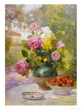 Still Life of Summer Flowers and Fruit by Marie Felix Lucas