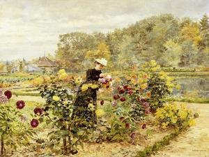 An Elegant Woman in a Rose Garden by Marie Francois Firmin-Girard