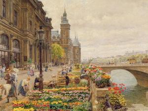 The Parisian Flower Market by Marie Francois Firmin-Girard