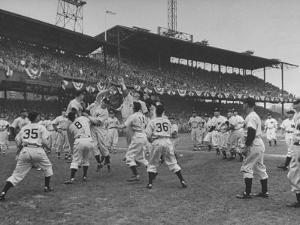 Baseball Players Catch Ball Thrown by Pres. Harry S. Truman at Opening Game for Washington Senators by Marie Hansen