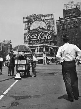 Coca Cola Sign and Thermometer Registering 100 Degrees during Columbus Circle Heat Wave in NY by Marie Hansen