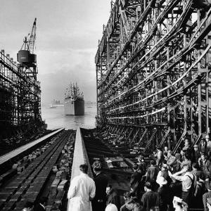 "Shipyard Workers Watching as the ""Bethlehem Fairchild"" Launches Into the Water by Marie Hansen"