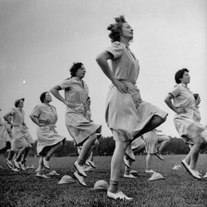 WACs Doing Daily Calisthenics Exercises by Marie Hansen