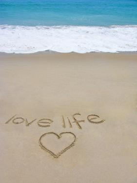 Beach on Fire Island, Ny with the Words 'Love Life' Written in the Sand by Marie Hickman