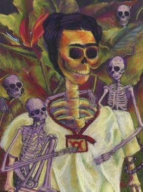 Frida Skelly With Monkeys by Marie Marfia Fine Art
