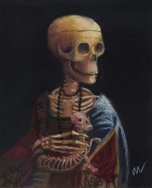 Skelly With A Ferret by Marie Marfia Fine Art