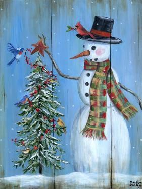 Snowman and Christmas Tree by Marilyn Dunlap