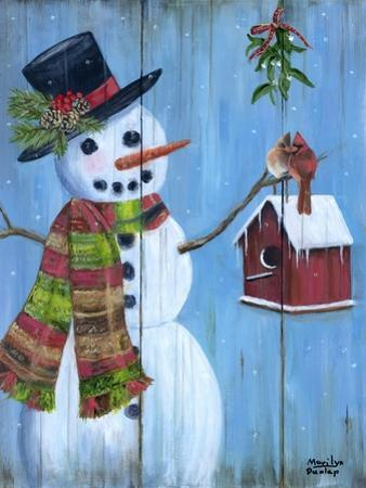 Snowman and Lovebirds by Marilyn Dunlap