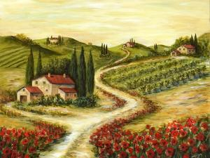 Tuscan Road With Poppies by Marilyn Dunlap
